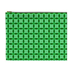 Green Abstract Tile Pattern Cosmetic Bag (xl)