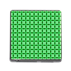 Green Abstract Tile Pattern Memory Card Reader With Storage (square)
