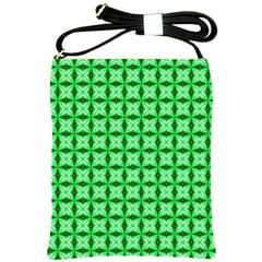 Green Abstract Tile Pattern Shoulder Sling Bag