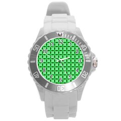 Green Abstract Tile Pattern Plastic Sport Watch (large)