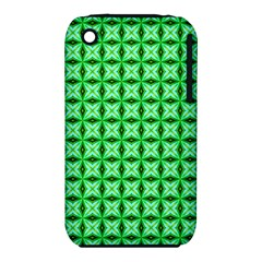 Green Abstract Tile Pattern Apple Iphone 3g/3gs Hardshell Case (pc+silicone)