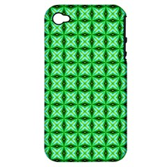 Green Abstract Tile Pattern Apple Iphone 4/4s Hardshell Case (pc+silicone)
