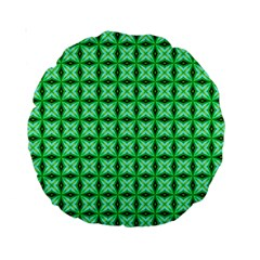 Green Abstract Tile Pattern 15  Premium Round Cushion