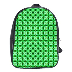 Green Abstract Tile Pattern School Bag (xl)