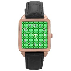 Green Abstract Tile Pattern Rose Gold Leather Watch
