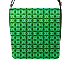 Green Abstract Tile Pattern Flap Closure Messenger Bag (large)