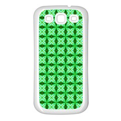Green Abstract Tile Pattern Samsung Galaxy S3 Back Case (white)