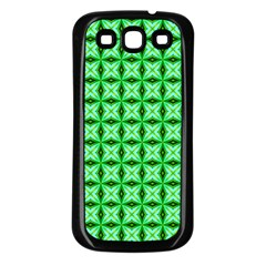 Green Abstract Tile Pattern Samsung Galaxy S3 Back Case (black)