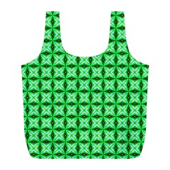 Green Abstract Tile Pattern Reusable Bag (L)