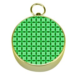 Green Abstract Tile Pattern Gold Compass