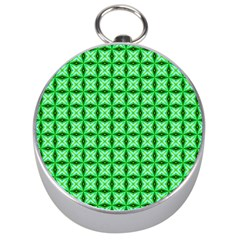 Green Abstract Tile Pattern Silver Compass