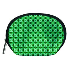 Green Abstract Tile Pattern Accessory Pouch (medium)