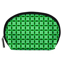 Green Abstract Tile Pattern Accessory Pouch (large)