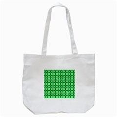 Green Abstract Tile Pattern Tote Bag (white)