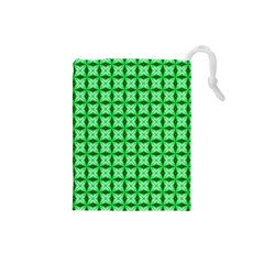 Green Abstract Tile Pattern Drawstring Pouch (Small)