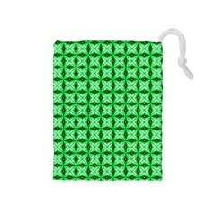 Green Abstract Tile Pattern Drawstring Pouch (medium)