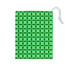 Green Abstract Tile Pattern Drawstring Pouch (large)