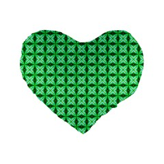 Green Abstract Tile Pattern 16  Premium Flano Heart Shape Cushion