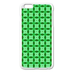 Green Abstract Tile Pattern Apple iPhone 6 Plus Enamel White Case