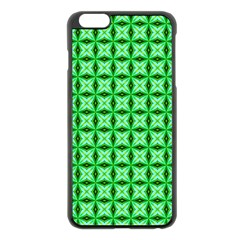 Green Abstract Tile Pattern Apple iPhone 6 Plus Black Enamel Case