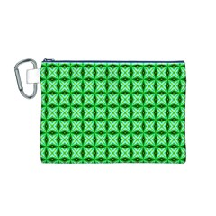 Green Abstract Tile Pattern Canvas Cosmetic Bag (medium)