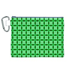 Green Abstract Tile Pattern Canvas Cosmetic Bag (xl)