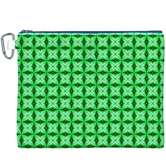 Green Abstract Tile Pattern Canvas Cosmetic Bag (xxxl)