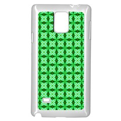 Green Abstract Tile Pattern Samsung Galaxy Note 4 Case (White)