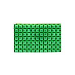 Green Abstract Tile Pattern Cosmetic Bag (XS)