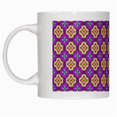 Purple Decorative Quatrefoil White Coffee Mug