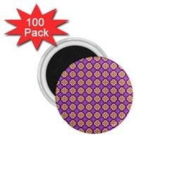 Purple Decorative Quatrefoil 1 75  Button Magnet (100 Pack)