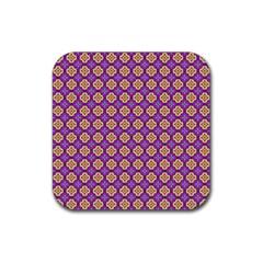 Purple Decorative Quatrefoil Drink Coaster (square)