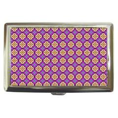Purple Decorative Quatrefoil Cigarette Money Case