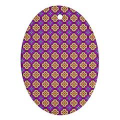 Purple Decorative Quatrefoil Oval Ornament (two Sides)