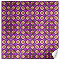 Purple Decorative Quatrefoil Canvas 20  X 20  (unframed)