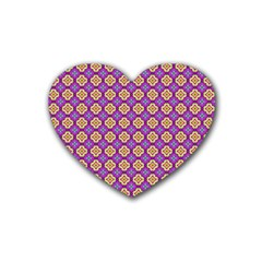 Purple Decorative Quatrefoil Drink Coasters (heart)
