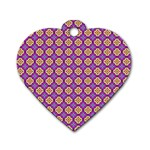 Purple Decorative Quatrefoil Dog Tag Heart (One Sided)  Front
