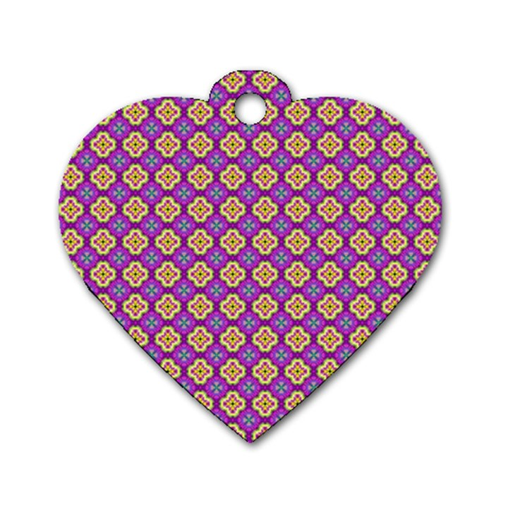 Purple Decorative Quatrefoil Dog Tag Heart (One Sided)
