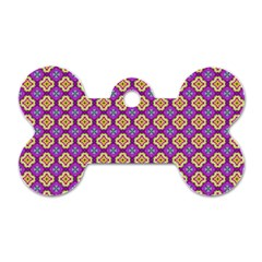 Purple Decorative Quatrefoil Dog Tag Bone (two Sided)