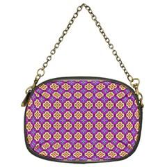 Purple Decorative Quatrefoil Chain Purse (one Side)