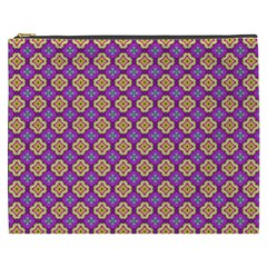 Purple Decorative Quatrefoil Cosmetic Bag (xxxl)