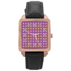 Purple Decorative Quatrefoil Rose Gold Leather Watch