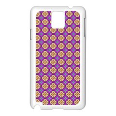 Purple Decorative Quatrefoil Samsung Galaxy Note 3 N9005 Case (white)