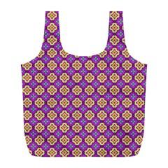 Purple Decorative Quatrefoil Reusable Bag (L)