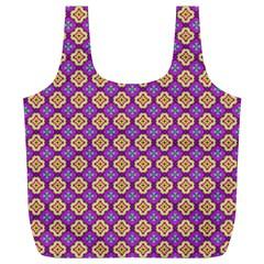 Purple Decorative Quatrefoil Reusable Bag (XL)