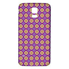 Purple Decorative Quatrefoil Samsung Galaxy S5 Back Case (White)