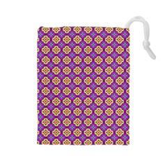 Purple Decorative Quatrefoil Drawstring Pouch (Large)