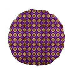 Purple Decorative Quatrefoil 15  Premium Flano Round Cushion