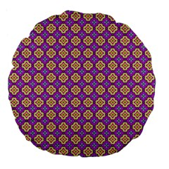 Purple Decorative Quatrefoil 18  Premium Flano Round Cushion