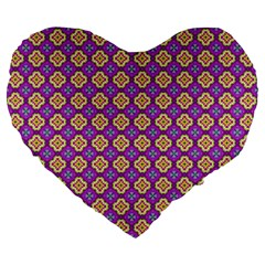 Purple Decorative Quatrefoil 19  Premium Flano Heart Shape Cushion